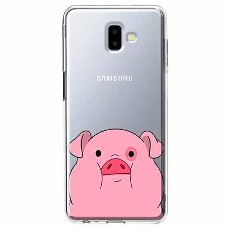 Etui na Galaxy J6 Plus - Słodka różowa świnka.