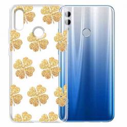 Etui na Huawei Honor 10 Lite - Złote koniczynki
