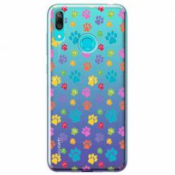 Etui na Huawei P Smart 2019 - Kolorowe psie łapki.
