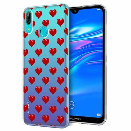 Etui na Huawei P Smart 2019 - Czerwone serduszka.