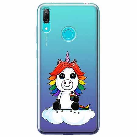 Etui na Huawei P Smart 2019 - Tęczowy jednorożec na chmurce.