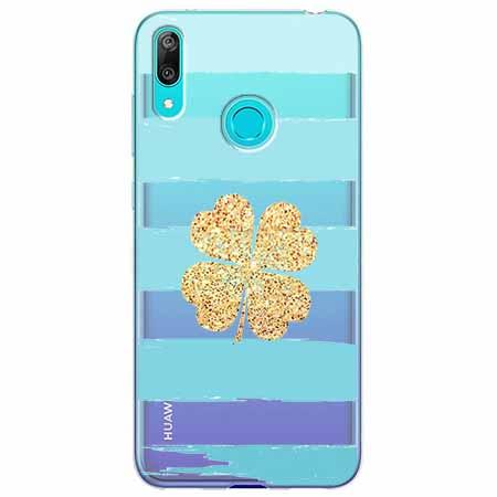 Etui na Huawei Y7 2019 - Złota  koniczyna.