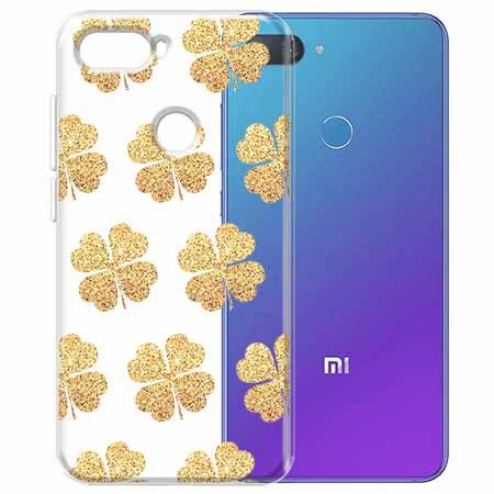 Etui na Xiaomi Mi 8 Lite - Złote koniczynki