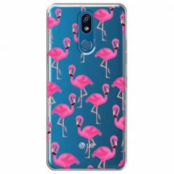 Etui na LG K40 - Różowe flamingi.