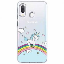 Etui na Samsung Galaxy A20e - Jednorożec na tęczy.