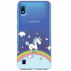Etui na Samsung Galaxy A10 - Jednorożec na tęczy.