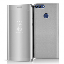 Etui na Huawei P Smart 2018 - Flip Clear View z klapką - Srebrny.