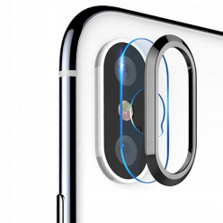 iPhone XS Hartowane szkło na Tylny aparat z ramką Alu