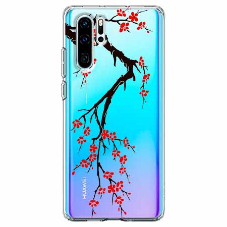 Etui na telefon Huawei P30 Pro - Krzew kwitnącej wiśni.