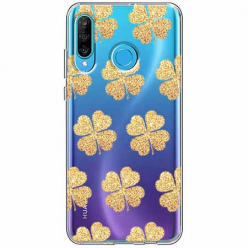 Etui na telefon Huawei P30 Lite - Złote koniczynki.
