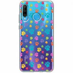 Etui na telefon Huawei P30 Lite - Kolorowe psie łapki.