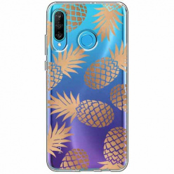 Etui na telefon Huawei P30 Lite - Złote ananasy.