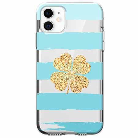 Etui na telefon Apple iPhone 11 - Złota czterolistna koniczyna.