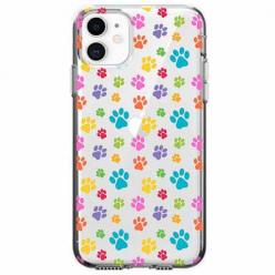 Etui na telefon Apple iPhone 11 - Kolorowe psie łapki.