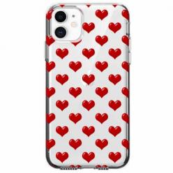 Etui na telefon Apple iPhone 11 - Czerwone serduszka.