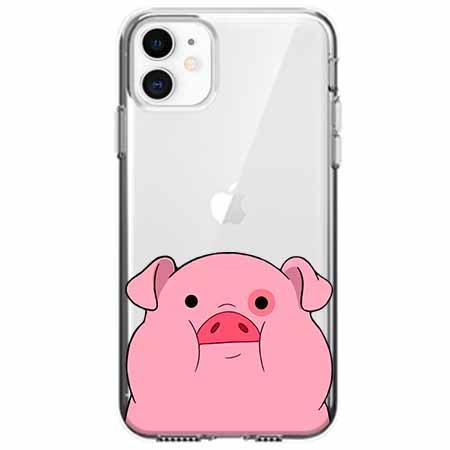Etui na telefon Apple iPhone 11 - Słodka różowa świnka.