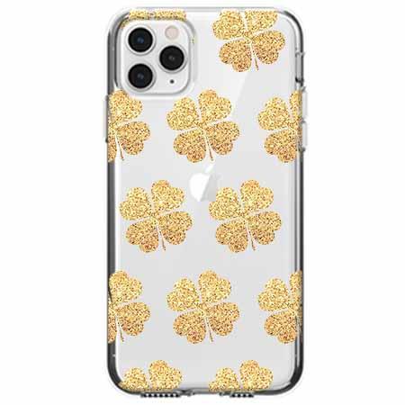 Etui na telefon Apple iPhone 11 Pro - Złote koniczynki.