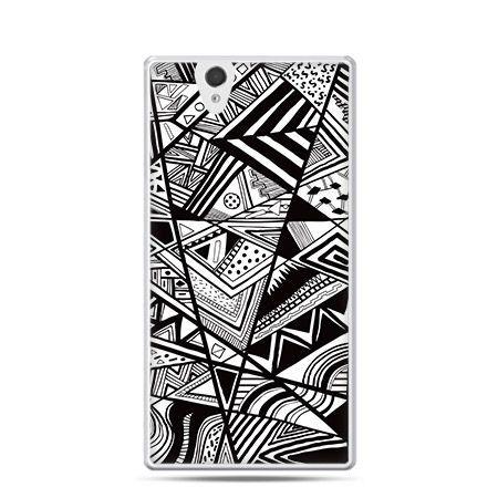 Czarno białe trójkąty etui z nadrukiem dla  Xperia Z