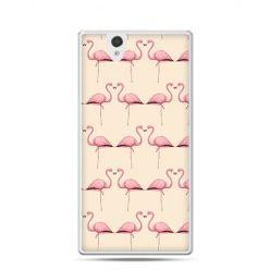 Różowe flamingi etui z nadrukiem dla  Xperia Z