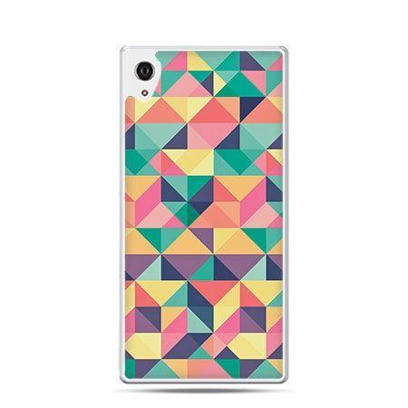 Kolorowe trójkąty etui z nadrukiem dla  Xperia Z2 twarde plastikowe