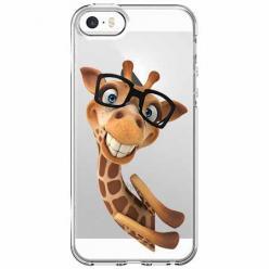 Etui na iPhone 5 , 5s - Wesoła żyrafa w okularach.