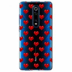 Etui na Xiaomi Mi 9T - Czerwone serduszka.