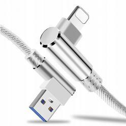 Kabel ładowarka Lightning iPhone Fast Charge QC Angle 90° - Biały