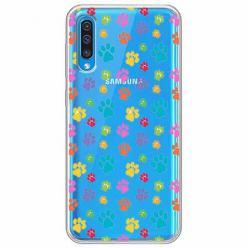 Etui na Samsung Galaxy A30s - Kolorowe psie łapki.