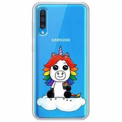 Etui na Samsung Galaxy A30s - Tęczowy jednorożec na chmurce.