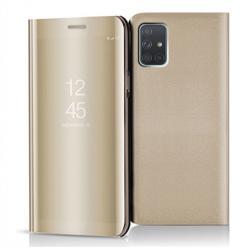 Etui na Samsung Galaxy A71 - Flip Clear View z klapką - Złoty.