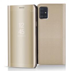 Etui na Samsung Galaxy A51 - Flip Clear View z klapką - Złoty.