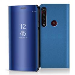 Etui na Motorola Moto G8 Plus - Flip Clear View z klapką - Niebieski.